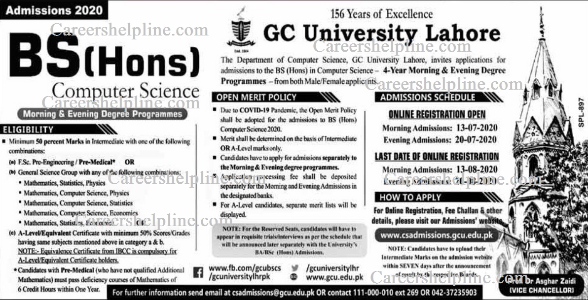 Admission started at Government College University (Lahore) GCU admission