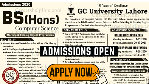 Admission started at | Government College University (Lahore) GCU admission || Careers Help Line